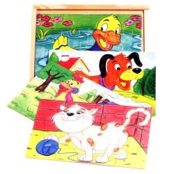 VIGA Drevené puzzle v krabici - Kačička