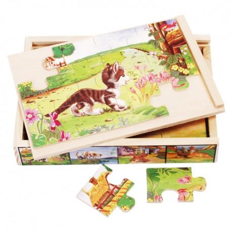 VIGA Drevené puzzle v krabici - Mačička
