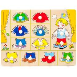 IMP-EX Drevené puzzle s úchytkou - obliekanie - Chlapček