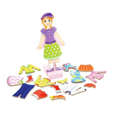 VIGA Drevené puzzle - obliekanie figuríny - Dievčatko