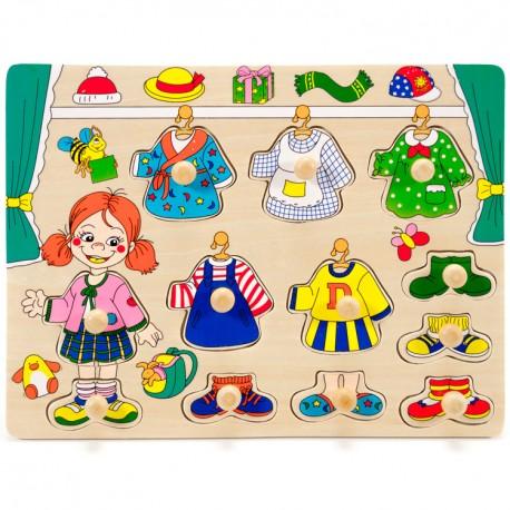 IMP-EX Drevené puzzle s úchytkou - obliekanie - Dievčatko