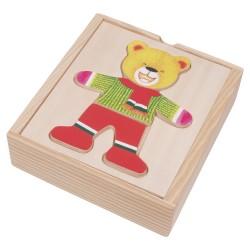 VIGA Drevené puzzle v krabičke - obliekanie - Macko