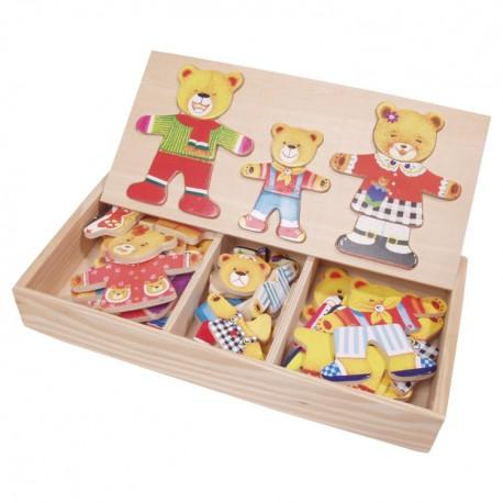 VIGA Drevené puzzle v krabičke - obliekanie - Medvedia rodinka 3-členná
