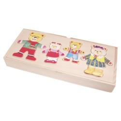 VIGA Drevené puzzle v krabičke - obliekanie - Medvedia rodinka 4-členná
