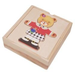 VIGA Drevené puzzle v krabičke - obliekanie - Medvedica