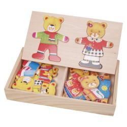 VIGA Drevené puzzle v krabičke - obliekanie - Medvedica a macko
