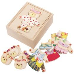 VIGA Drevené puzzle v krabičke - obliekanie mini - Medvedica