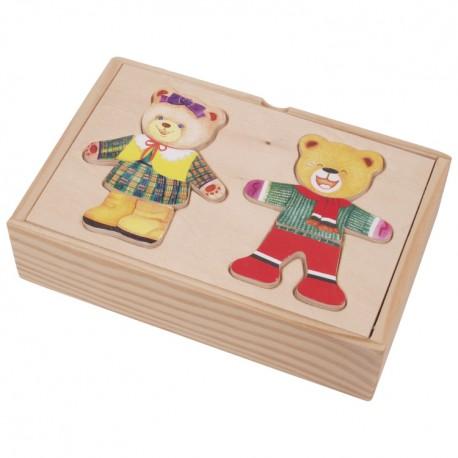 VIGA Drevené puzzle v krabičke - obliekanie mini - Medvedica a macko