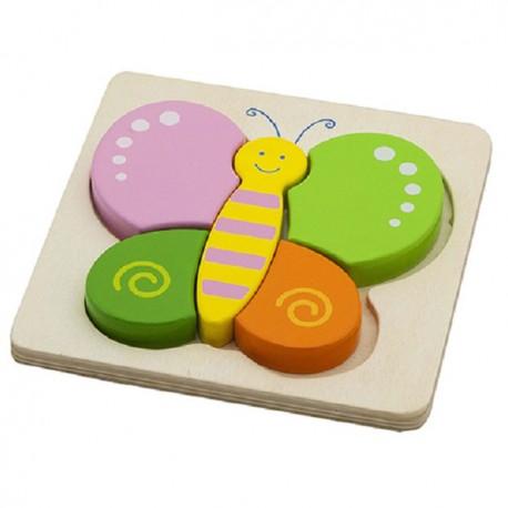 VIGA Drevené puzzle s hrubými dielikmi - Motýlik