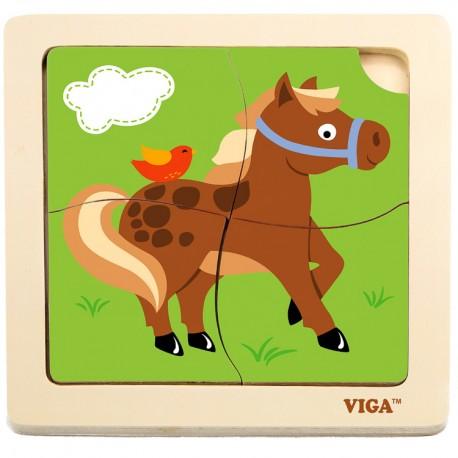 VIGA Drevené puzzle pre najmenších - 4 dieliky - Koník
