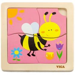 VIGA Drevené puzzle pre najmenších - 4 dieliky - Včielka