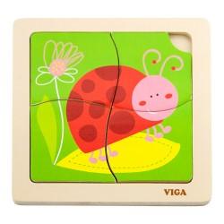 VIGA Drevené puzzle pre najmenších - 4 dieliky - Lienka
