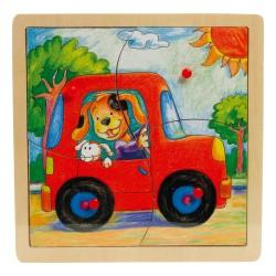 VIGA Drevené puzzle s úchytkou (4 diely) - Auto
