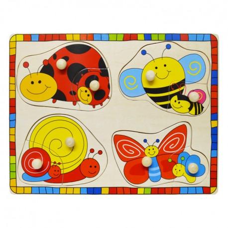 IMP-EX Drevené puzzle s úchytkou - Chrobáčiky a ich mláďatá