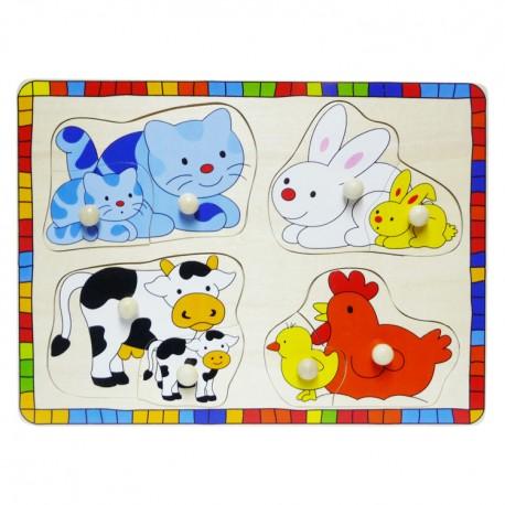 VIGA Drevené puzzle s úchytkou - Domáce zvieratká a ich mláďatá