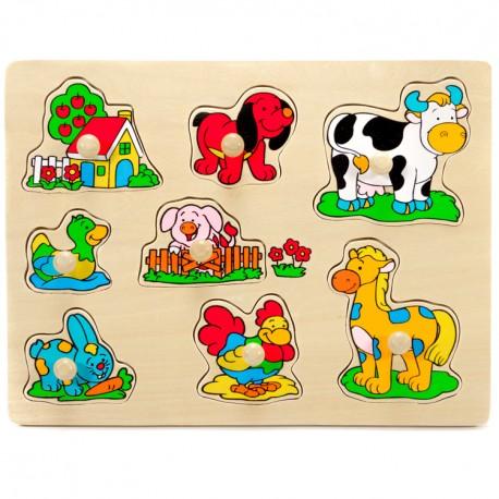 VIGA Drevené puzzle s úchytkou - Zvieratká na dvore