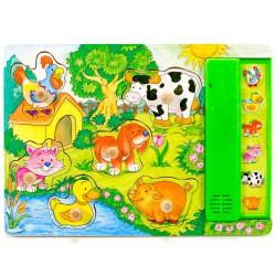 Drevené zvukové puzzle - Zvieratká na dvore