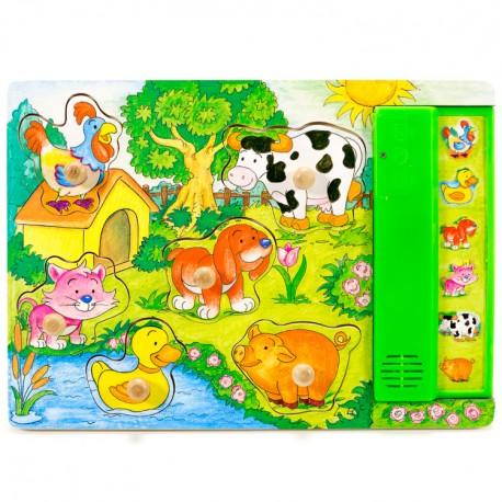 IMP-EX Drevené zvukové puzzle - Zvieratká na dvore