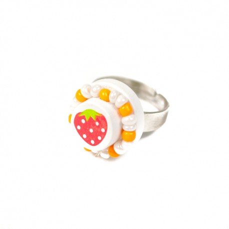 Detský prsteň s jahôdkou - biely