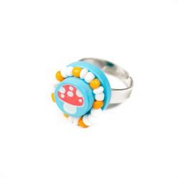 Detský prsteň s hríbikom - modrý