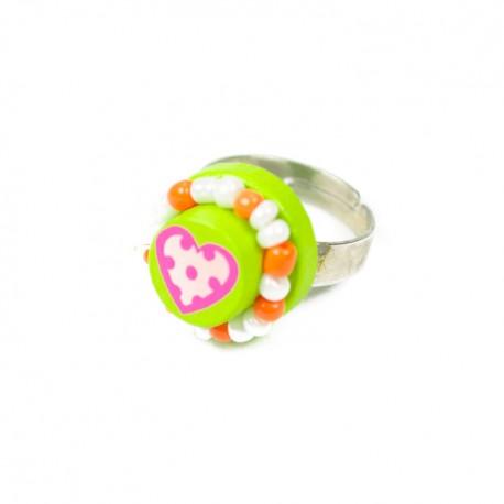 Detský prsteň so srdiečkom - zelený