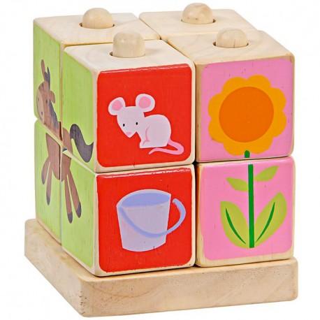 Drevená skladačka - 4 kolíky s obrázkami