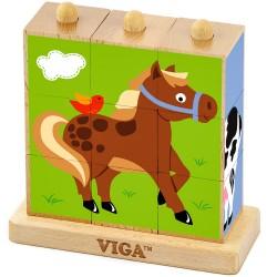 VIGA Drevená skladačka - domáce zvieratká