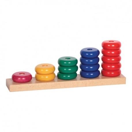IMP-EX Drevená skladačka - Farebné krúžky