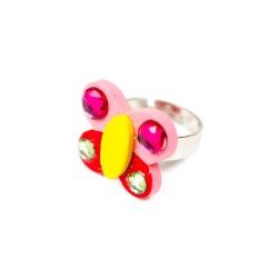 Detský prsteň - motýlik ružový