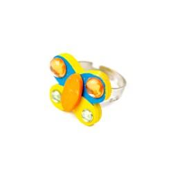 Detský prsteň - motýlik žlto-modrý