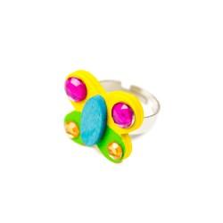Detský prsteň - motýlik žlto-zelený