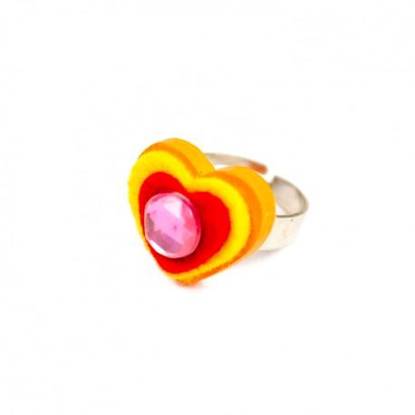 Detský prsteň - srdiečko oranžové
