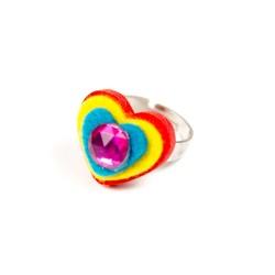 Detský prsteň - srdiečko červené