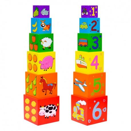 Drevená skladačka - Veža z kociek