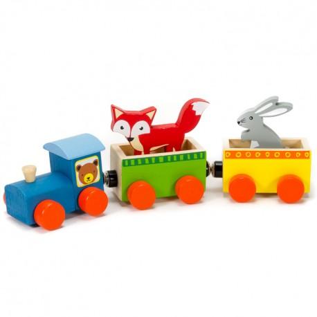 IMP-EX Drevený vláčik so zvieratkami - líška a zajac