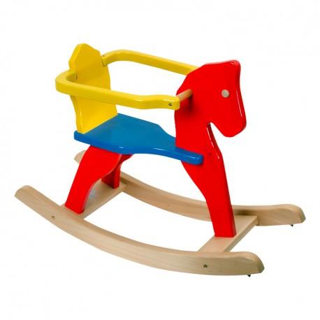 Drevený hojdací koník - farebný s ohrádkou