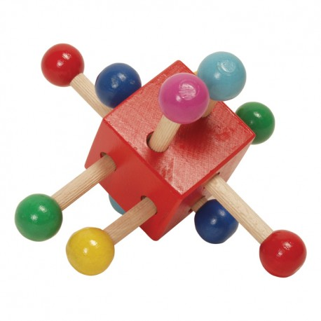 Drevená hrkálka - kocka červená