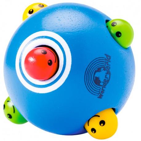 Drevená loptička s vykúkajúcimi hlavami - modrá