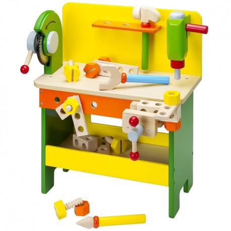 Mentari Detský pracovný stôl z dreva - žlto-zelený