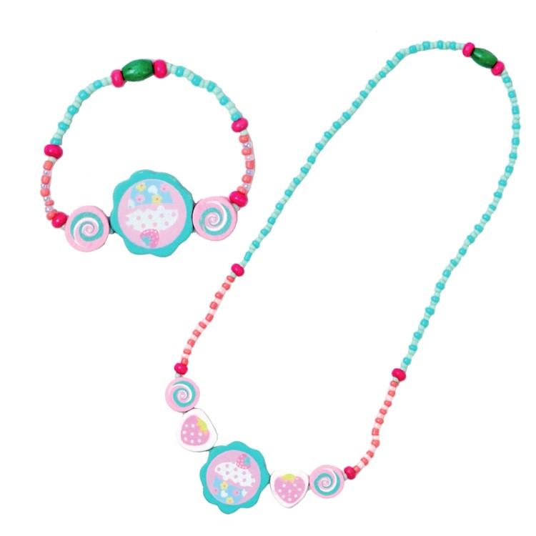 Detský náhrdelník + náramok - koláčik ružový - Najhracky.sk 03ed8667ed3