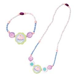 Detský náhrdelník + náramok - koláčik tyrkysový
