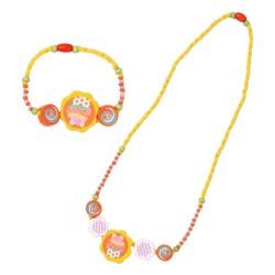 Detský náhrdelník + náramok - koláčik žltý