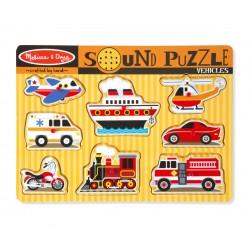 Melissa & Doug Drevené zvukové puzzle - Dopravné prostriedky