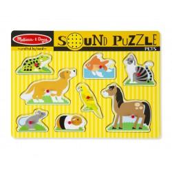 Melissa & Doug Drevené zvukové puzzle - Domáce zvieratká