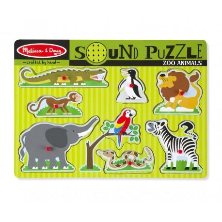 Melissa & Doug Drevené zvukové puzzle - Zvieratká ZOO