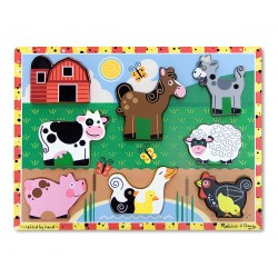 Melissa & Doug Drevené obrázkové puzzle s hrubými dielikmi - Farma