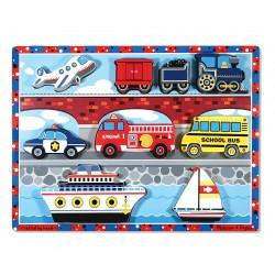 Melissa & Doug Drevené obrázkové puzzle s hrubými dielikmi - Dopravné prostriedky