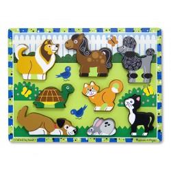 Melissa & Doug Drevené obrázkové puzzle s hrubými dielikmi - Domáce zvieratká