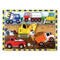 Melissa & Doug Drevené obrázkové puzzle s hrubými dielikmi - Na stavbe