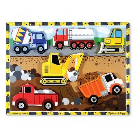 Drevené obrázkové puzzle s hrubými dielikmi - Na stavbe